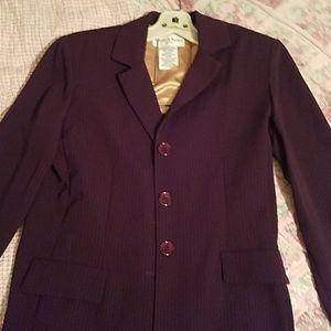 Two-Piece Purple Pinstripe Pantsuit Jacket & Pants